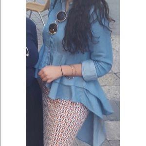 ZARA Size M: Denim ruffled blouse. High-low